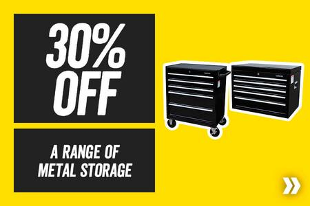 30% off a range of Halfords Metal Storage